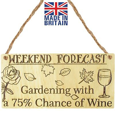 Forecast Gardening Wine Garden Shed Alcohol Allotment Plaque Friendship Sign  • 3.99£