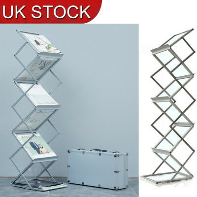 Portable 4 Tier Folding A4 Literature Brochure Rack Exhibition Display Stand • 42.39£
