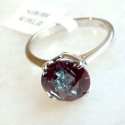 AU540 • Buy 2 Carat Alexandrite Ring 14K White Gold Round Checker Board Cut 8mm Created Gem