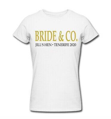 £9.99 • Buy BRIDE & CO: Personalised Hen Night T-shirts, Custom White And Black