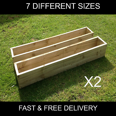 2 X WOODEN GARDEN/HERB PLANTERS- CHOICE OF 7 SIZES - REDUCED PRICE - FLASH SALE! • 23£