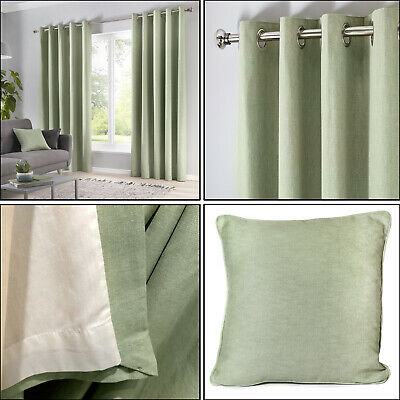 Pastel Light Green Eyelet Curtains Cotton Plain Lined Ring Top Curtains Pair • 25.99£