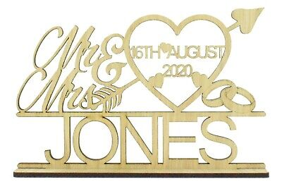 £8.99 • Buy Oak Personalised Mr & Mrs Wedding Sign On A Stand - Heart With Arrow Top Table