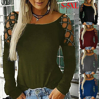 £11.44 • Buy Plus Size Womens Cold Shoulder Tops Blouse Ladies Sexy Party Long Sleeve T-Shirt