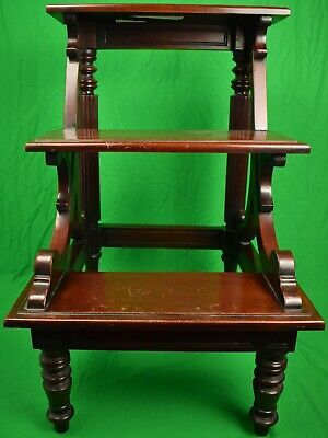 $1500 • Buy English Mahogany 19th Century Library 3 Step Ladder Ex- Holland & Holland