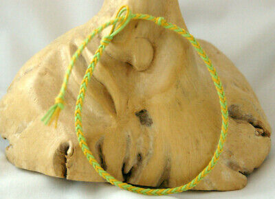 £3 • Buy Anklet Bracelet, Yellow & Green Cotton Cord Flat Braided Plait. Friendship Gift
