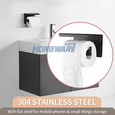 AU31.90 • Buy Wall Mounted Toilet Paper Roll Holder Hook Cover Storage Stainless Steel Black