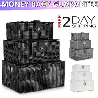 Storage Basket Hamper Resin Woven Set Of 3 Box With Lid & Lock 3 Colour 3 Size • 1£