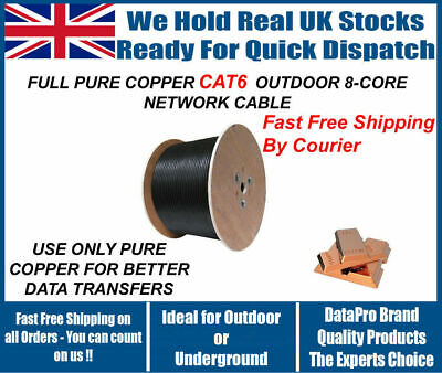 CAT6 Solid PE Black Outdoor Cable 305m 100% Copper Network Ethernet DUCT GRADE • 94.99£