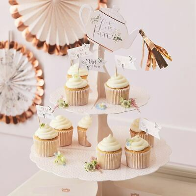 £16.95 • Buy Rose Gold 2 Tiered Afternoon Tea Cake Stand Lets Partea Alice Tea Party