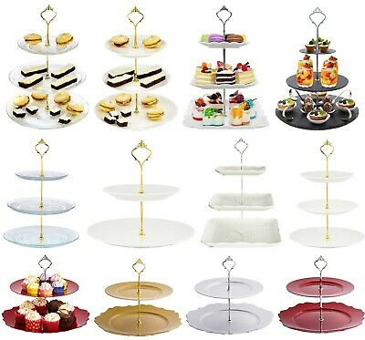Cake Stand Glass Ceramic Porcelain Afternoon Tea Wedding Plates Party Tableware  • 9.99£