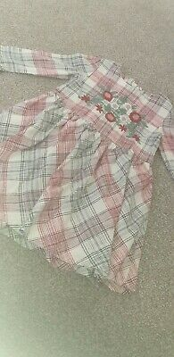 Girls 3-4 Years Red Checked Long Sleeve Floral Dress Marks And Spencers • 1.99£