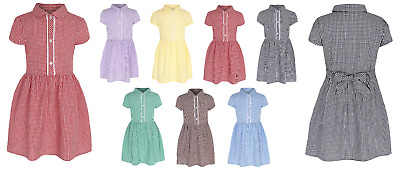 Girls Gingham School Dress Uniform Bow Checked Standard & Plus Fit Ages 3-14 • 9.09£