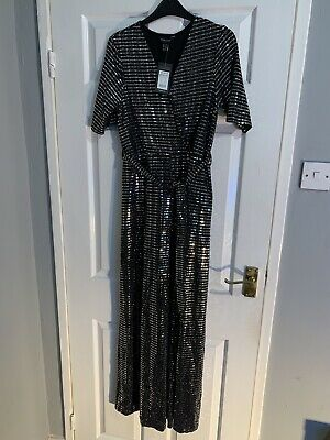New Look Sequin Jumpsuit Black And Silver Size 14 Brand New With Tags • 10£