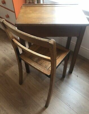 Vintage Wooden School Desk With Matching Chair And Lift Top Lid. • 35£