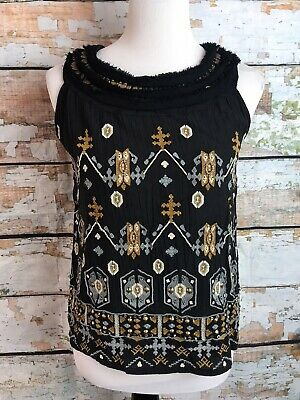 $ CDN9.93 • Buy Anthropologie Akemi + Kin Top Size XS Black Sleeveless Blouse Beaded Embroidered