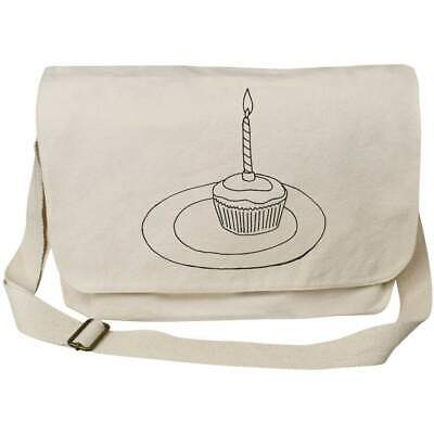 'Candle Cupcake' Cotton Canvas Messenger Bags (MS021195) • 14.99£