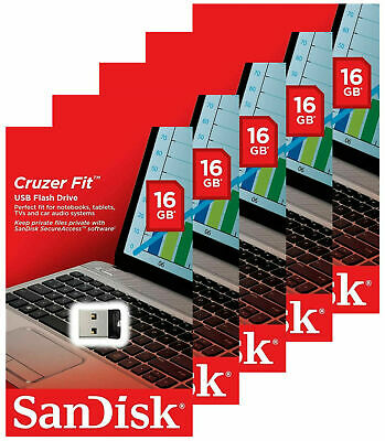 $25.50 • Buy New Sandisk 16gb Cruzer Fit Usb 2 0 Flash Mini Pen Drive Sdcz33 Pack 5