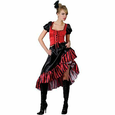 Can Can Saloon Show Girl Red/Black Fancy Dress Costume • 25£
