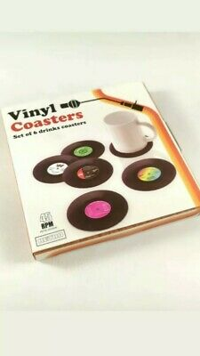 6 Vinyl Style Boxed Coasters Place Mats Bar Set Retro Vintage Record Discs • 4.49£