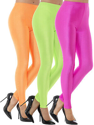 AU26.99 • Buy 80s Disco Spandex Leggings Ladies Costume Fluoro Neon Pink Green Orange