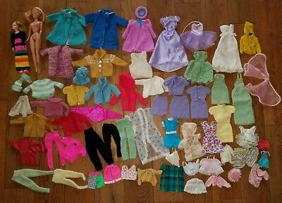 $ CDN4.30 • Buy Huge Lot 60+ Pc. Vintage Barbie Doll Clothes, Authentic, Handmade, Dolls, Etc.