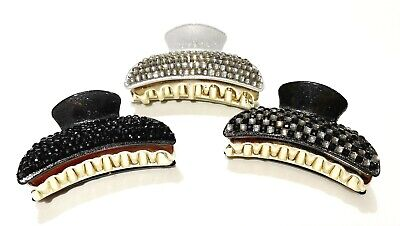 Set Of 3 X Beautiful Diamante Glittery Hair Clip Claw Grip Butterfly Clamps  • 4.49£