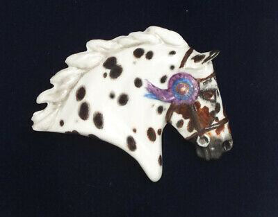 Fine Bone China Horse Brooch - 'In The Ribbons' - Appaloosa • 29.95£