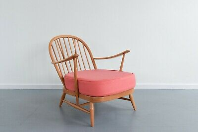 Vintage Low Ercol Windsor Back Easy Chair Model No. 203 With Pink Wool Fabric • 475£