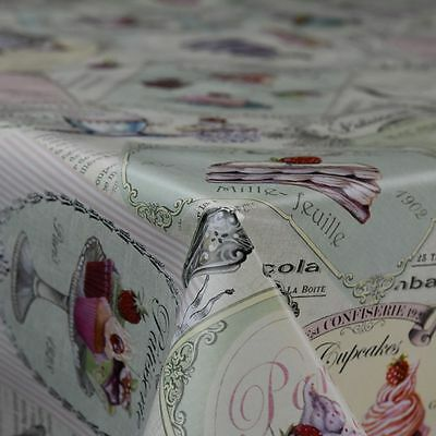 French Dessert Novelty Food Design PVC Vinyl Tablecloth 140cm Wide Per Metre • 6.95£