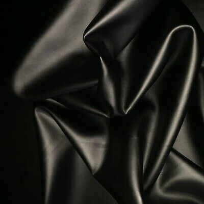 Black Faux Imitation Leather Dress Making Clothing Lycra Stretch Fabric Material • 8.99£