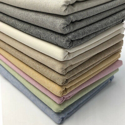 Plain Cotton Rich Linen Fabric Craft Curtaining & Upholstery Material | 54  Wide • 5.49£