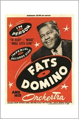 $6.99 • Buy Vintage Concert Poster FATS DOMINO And His ORCHESTRA Music Legend 24X36 HOT
