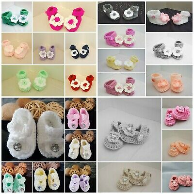 ** New Handmade Crochet Baby Girl Booties Mary Jane Shoes Newborn - 12m  • 3.95£
