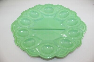 $39.99 • Buy L.E. Smith Jadeite Moon & Stars Egg Plate