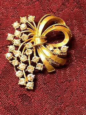 $9 • Buy Vintage M JENT Signed Brooch Gold Tone With Rhinestones