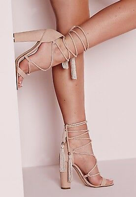New Missguided Heels Size 7 Lace Up Tassel Block Heel Nude Suede Sandals Shoes • 15£