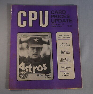 $2.13 • Buy 1983 Cpu Card Prices Update Baseball Card Magazine - Nolan Ryan On Cover