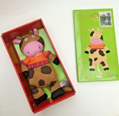 KNITTED COW - 25CM Branded LATITUDE ENFANTS FRENCH Soft Toy Stuffed Animal BNWT • 12.99£