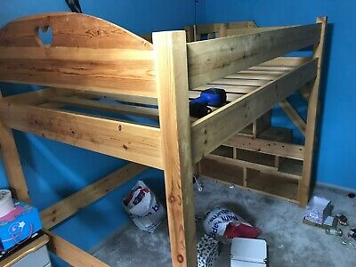Pine High Sleeper Bed With Storage Stairs - Queen / Small Double • 150£