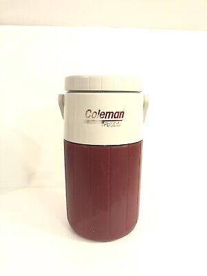 $17.99 • Buy Vintage Coleman Water Jug Cooler Polylite 1/2 Gallon 5590 Jug White Handle Red
