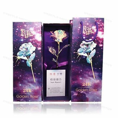 AU22.87 • Buy Gold Plated Rose 24K Dipped Flower Valentine's Day Love Gift For Her Decor GD