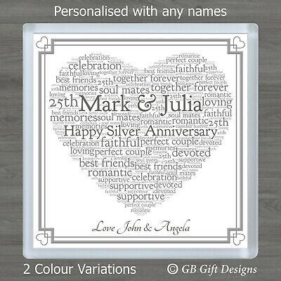 £3.45 • Buy Personalised Silver Wedding Anniversary 25th Word Art Coaster Gift