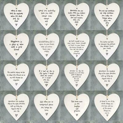East Of India Porcelain Plaque Heart Round Shape Sayings Love Friendship Family • 4.99£