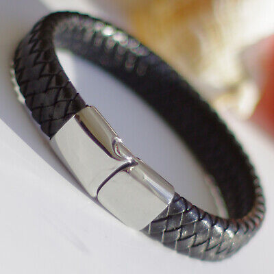Mens Genuine Flat Leather Braided Wristband Bracelet Stainless Steel Clasp • 7.99£