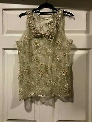 $ CDN43.74 • Buy Anthropologie Moulinette Soeurs Pearl Collared Embroidered Top Cream Gold MEDIUM