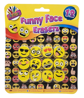 £2.65 • Buy 12 Emoji Smile Face Erasers Funny Rubbers Stationary Kids Party Loot Bag Fillers