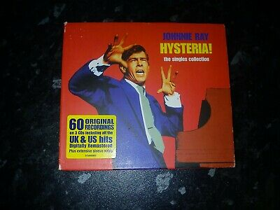 Johnnie Ray, Hysteria! Singles Collection 3 CD Set New Outer Case Is Scruffy • 8.99£