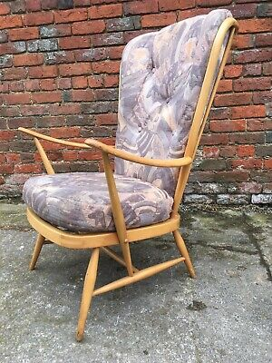Vintage Mid Century Ercol Windsor Tall Back Easy Chair (478) Retro Armchair £495 • 495£