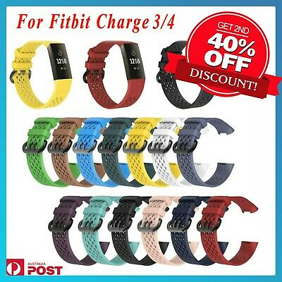 AU5.39 • Buy Fitbit Charge 3 4 Sports Band Silicone Replacement Strap Wristband